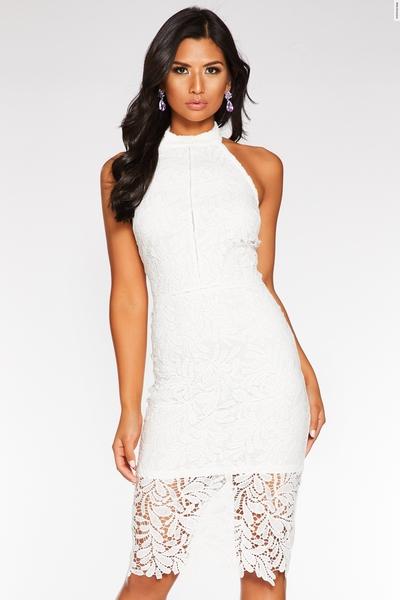 Cream Crochet Halterneck Midi Dress
